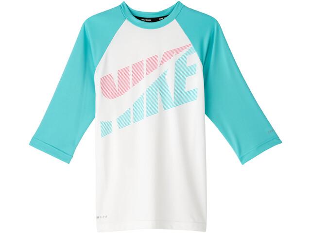 Nike Swim Iridecent Swoosh Short Sleeve Hydroguard Shirt Girls white